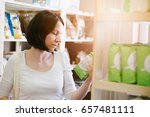 woman choosing products in... | Shutterstock . vector #657481111