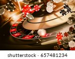 Roulette Spin Casino Chips Blow Concept 3D Rendered Illustration. Casino Gambling. - stock photo