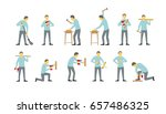 set of men are different work... | Shutterstock .eps vector #657486325