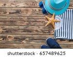 sea background. kid s stuff on...   Shutterstock . vector #657489625