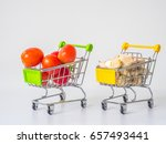 tomato and garlic in a shopping ... | Shutterstock . vector #657493441