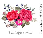 bouquet with pink country roses | Shutterstock .eps vector #657507529