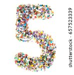 Small photo of Confetti alphabet: number 5 - figure five with isolated background
