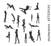 set of sexy women silhouettes.... | Shutterstock .eps vector #657529141