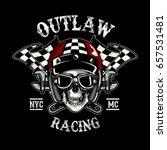 skull of biker in t shirt style ... | Shutterstock .eps vector #657531481