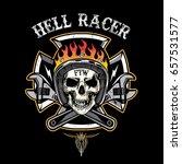 skull of biker in t shirt style ... | Shutterstock .eps vector #657531577