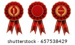 first place winner ribbon... | Shutterstock . vector #657538429