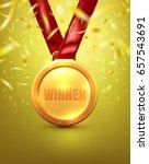 gold medal winner award.vector... | Shutterstock .eps vector #657543691