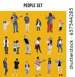 diverse of people enjoy music... | Shutterstock . vector #657544285