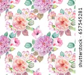 watercolor roses pattern | Shutterstock . vector #657545281