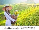 beautiful woman with vietnam...   Shutterstock . vector #657575917