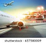 freight cargo plane in airport... | Shutterstock . vector #657580009