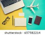 top view of work desk with...   Shutterstock . vector #657582214