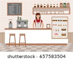 coffee shop interior. young... | Shutterstock .eps vector #657583504