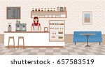 coffee shop interior. young... | Shutterstock .eps vector #657583519