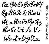 hand drawn dry brush font.... | Shutterstock .eps vector #657587389
