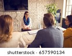 young female on job interview... | Shutterstock . vector #657590134