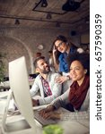 female manager supervises work... | Shutterstock . vector #657590359