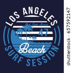 los angeles surf typography  t... | Shutterstock .eps vector #657592147