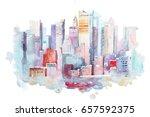 watercolor drawing of new york... | Shutterstock . vector #657592375