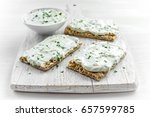 homemade crispbread toast with... | Shutterstock . vector #657599785