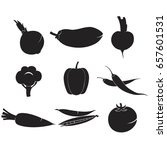 vegetables set icons food fresh ... | Shutterstock .eps vector #657601531