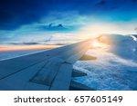 window view on aero plane in... | Shutterstock . vector #657605149