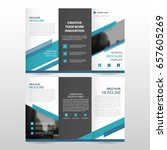 blue triangle business trifold... | Shutterstock .eps vector #657605269