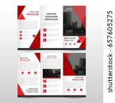 red triangle business trifold... | Shutterstock .eps vector #657605275