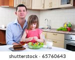 father and his young daughter...   Shutterstock . vector #65760643
