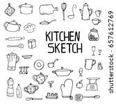 kitchen utensils sketch pencil... | Shutterstock .eps vector #657612769