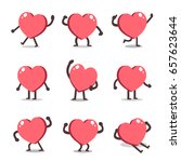 cartoon heart character poses | Shutterstock .eps vector #657623644