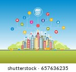 smart city with advanced smart... | Shutterstock .eps vector #657636235