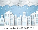 cityscape with rain   rainy... | Shutterstock .eps vector #657641815