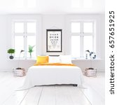 white minimalist bedroom... | Shutterstock . vector #657651925
