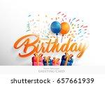 happy birthday typographic... | Shutterstock .eps vector #657661939