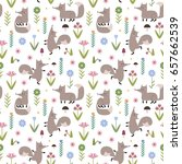 hand drawn vector pattern with... | Shutterstock .eps vector #657662539