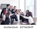 happy business team making high ... | Shutterstock . vector #657663649