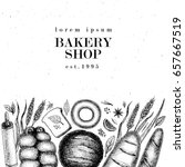 hand drawn vector bakery banner ... | Shutterstock .eps vector #657667519