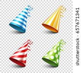 party shiny hat with ribbon.... | Shutterstock .eps vector #657671341