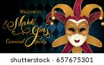 gold carnival mask with shiny... | Shutterstock .eps vector #657675301