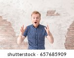 portrait of excited happy young ... | Shutterstock . vector #657685909