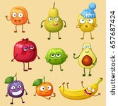 funny fruit characters isolated ... | Shutterstock .eps vector #657687424