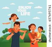happy family having fun    Shutterstock .eps vector #657695761