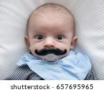 cute baby with funny mustaches... | Shutterstock . vector #657695965