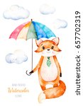 watercolor illustration.cute... | Shutterstock . vector #657702319