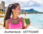 sport fitness woman drinking... | Shutterstock . vector #657702685