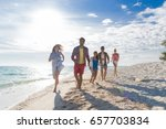 young people group on beach... | Shutterstock . vector #657703834