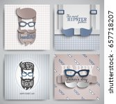 set of happy fathers day cards... | Shutterstock .eps vector #657718207