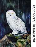 white snowy owl in the forest   ... | Shutterstock . vector #657719785